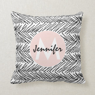 Modern Black & White Hand Drawn Zigzag Monogram Cushion