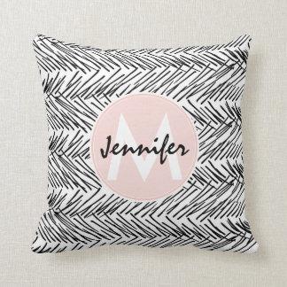 Modern Black & White Hand Drawn Zigzag Monogram Throw Pillow