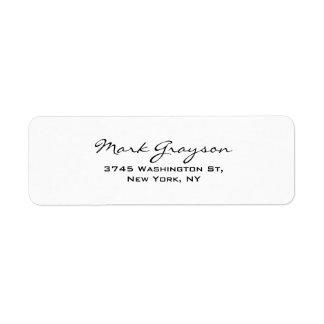 Modern Black & White Handwriting Plain Elegant Return Address Label
