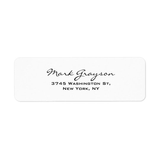 Modern Black & White Handwriting Plain Elegant Return Address Label