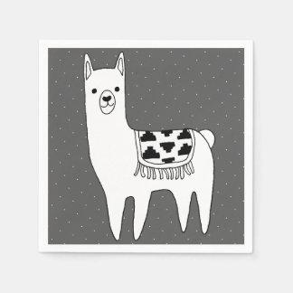 Modern Black & White Llama Sketch Disposable Napkin
