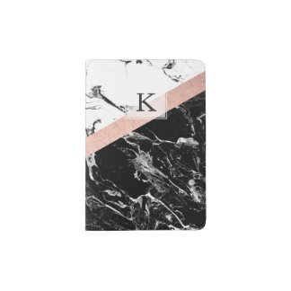 Modern black white marble color block rose gold passport holder