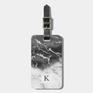 Modern black white marble ombre watercolor block luggage tag