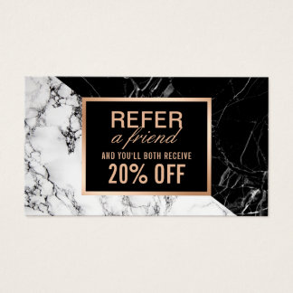 Modern Black White Marble Refer a Friend Referral Business Card