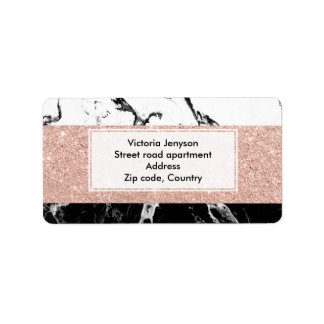 Modern black white marble rose gold color block address label