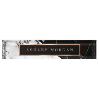 Modern Black White Marble Stone Texture Look Name Plates