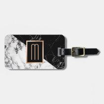 Modern Black White Marble Texture Stylish Monogram Bag Tag
