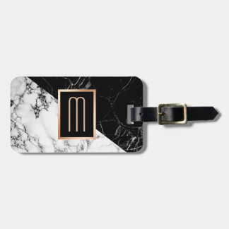 Modern Black White Marble Texture Stylish Monogram Luggage Tag