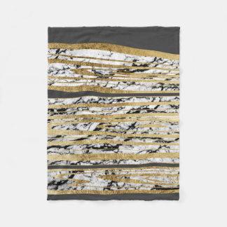 Modern Black White Marble with Faux Gold Stripes Fleece Blanket