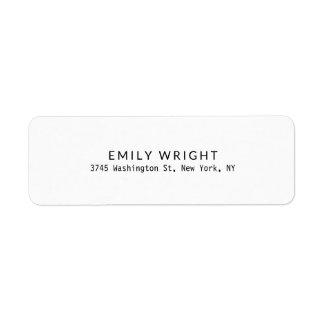 Modern Black & White Minimalist Professional Return Address Label