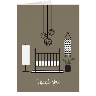 Modern Black + White Nursery Baby Shower Thank You Card