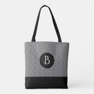 Modern Black & White Octagonal Pattern Tote Bag