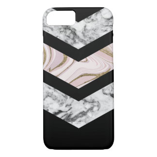 Modern black white pink faux gold chevron marble iPhone 8/7 case
