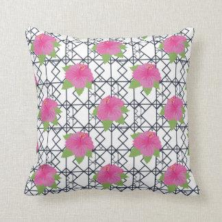 Modern Black White Pink Hibiscus Throw Pillow