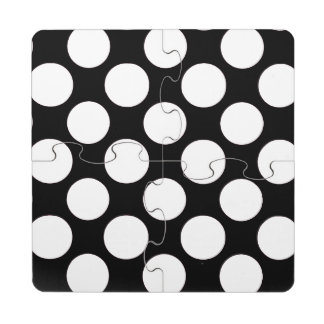 Modern Black White Polka Dots Pattern Puzzle Coaster