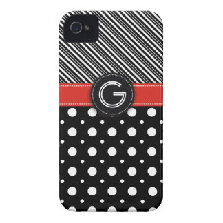 Modern black, white, red dot & stripes Case-Mate iPhone 4 cases
