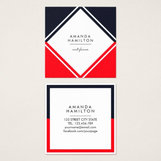 Modern BLACK WHITE RED GEOMETRICAL PROFESSIONAL Square Business Card