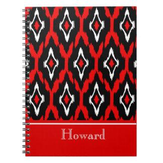 Modern black white red Ikat Tribal Pattern 1 Notebooks