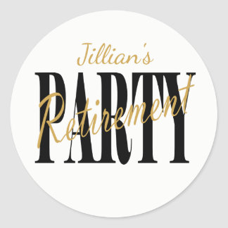 Modern Black & White Retirement Party Stickers