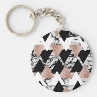 Modern Black White Rose Gold Triangles on Marble Basic Round Button Key Ring