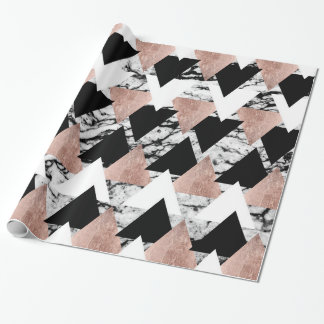 Modern Black White Rose Gold Triangles on Marble Wrapping Paper