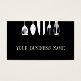 Modern Black & White Spoon and Fork Restaurant Business Card