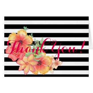 Modern Black & White Stripe Floral Thank You Notes