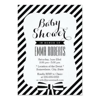 Modern Black & White Stripe Lines Baby Shower Custom Invitations