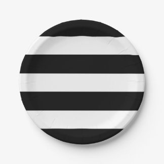 Modern Black White Striped Wedding Reception Party Paper Plate