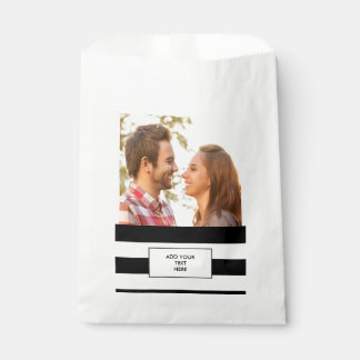 Modern Black White Stripes Pattern Favour Bag