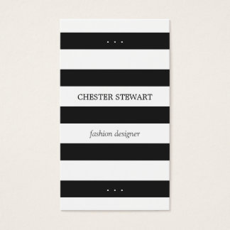 Modern Black White Stripes Personal Contact Card