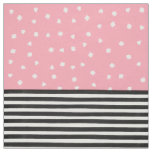 Modern black white stripes pink brushstrokes dots fabric