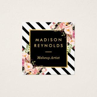 Modern Black White Stripes Pink Floral Gold Frame Square Business Card