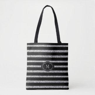 Modern black white stripes silver texture monogram tote bag