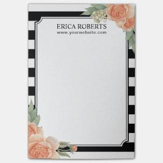Modern Black & White Stripes Vintage Floral Salon Post-it Notes