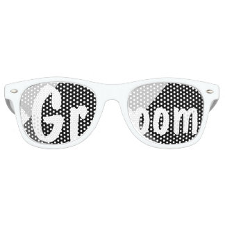 Modern black white triangles wedding Groom Retro Sunglasses