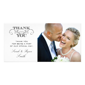 Modern Black & White Wedding Photo Thank You Cards Photo Cards