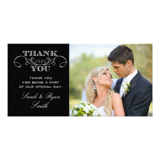 Modern Black & White Wedding Photo Thank You Cards Photo Greeting Card