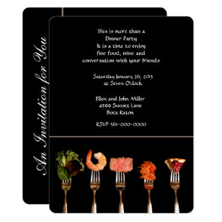 Modern Black with Forks Dinner Invitation