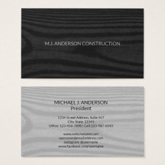 Modern Black Wood Grain   Simple Minimalist Rustic Business Card