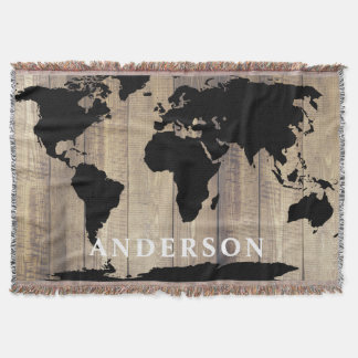 Modern Black World Map Rustic Wood Family Name Throw Blanket