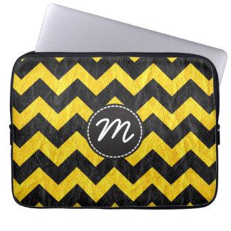 Modern Black Yellow Chevron Leather Laptop Sleeve