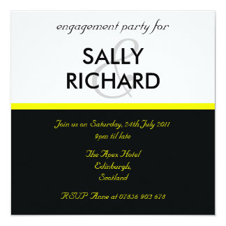 Modern Black & Yellow Engagement Party Invitation
