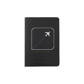 modern blk. travel passport cover plane with name