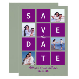 Modern Block Letters & Photo - 3X5 Save the Date Card