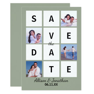 Modern Block Letters & Photo - Save the Date Card