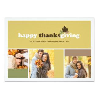 Modern Blocks Fall Leaves Thanksgiving Photo Card 13 Cm X 18 Cm Invitation Card