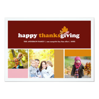 Modern Blocks Fall Leaves Thanksgiving Photo Card 13 Cm X 18 Cm Invitation Card