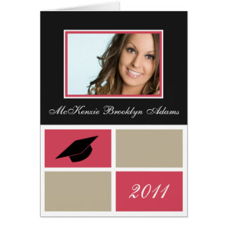 Modern Blocks Folded Graduation Invitation (pink)