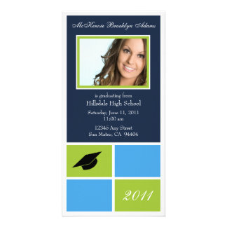 Modern Blocks Graduation Announcement (lime) Custom Photo Card